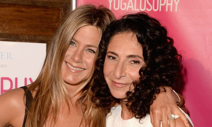 """Actress Jennifer Aniston (L) and Yoga instructor/author Mandy Ingber (R) attend SELF Magazine and Jennifer Aniston's celebration of Mandy Ingber's new book """"Yogalosophy: 28 Days to the Ultimate Mind-Body Makeover"""" (Seal Press) in Los Angeles, Calif., on April 30, 2013.  (Jason Merritt/Getty Images for SELF Magazine)"""