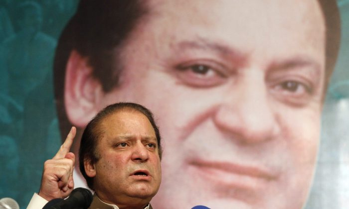 Pakistan's incoming Prime Minister Nawaz Sharif addresses his party's newly elected MPs in Lahore on May 20, 2013. (Arif Ali/AFP/Getty Images)