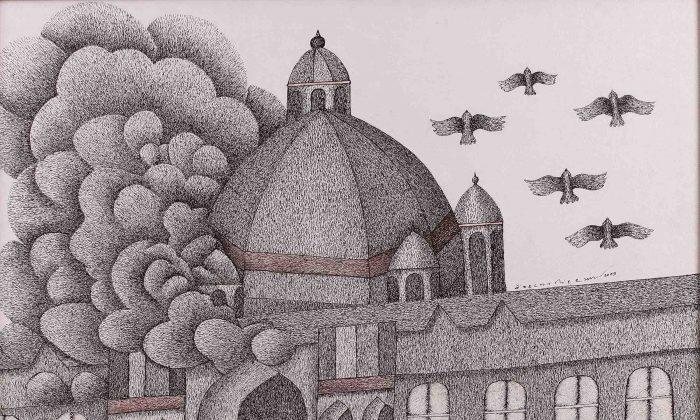 """Smoking Taj"" by Indian artist Venkat Raman Singh Shyam, 2009. Pen and acrylic on canvas. Must Art Gallery, New Delhi."