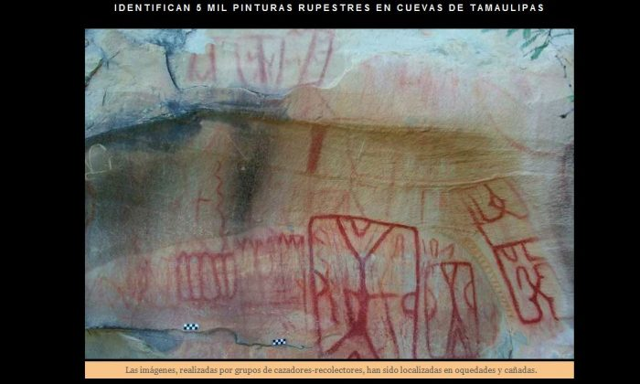 A screenshot of the Mexican National Institute of Anthropology and History's site shows the rock art.