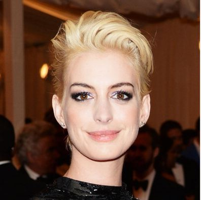 Actress Anne Hathaway attends the Costume Institute Gala for the 'PUNK: Chaos to Couture' exhibition at the Metropolitan Museum of Art on May 6, 2013 in New York City. (Photo by Dimitrios Kambouris/Getty Images)
