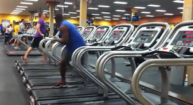A man dances on a treadmill in a video that's gone viral on YouTube. (Screenshot/YouTube)