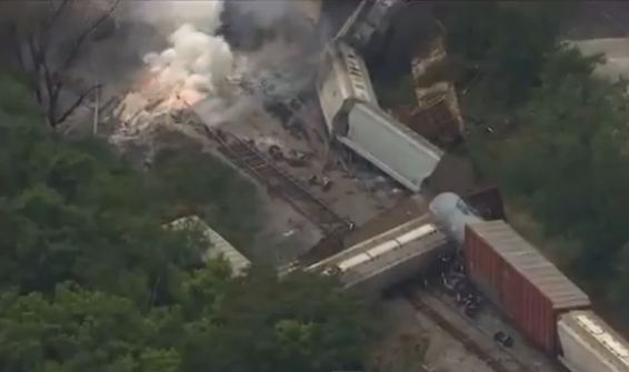 The scene of a trail derailment near Baltimore, Maryland, on May 28. (Screenshot/YouTube)