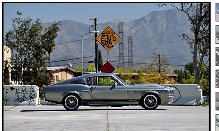 A screenshot of Mecum Auction's website shows the Mustang.
