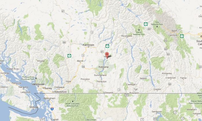 A Google Maps shows the location of Vernon, B.C.