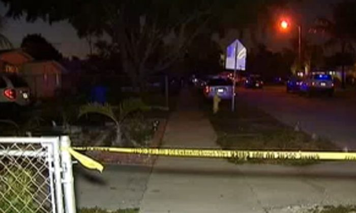 An NBC Miami screenshot shows the neighborhood in Oakland Park where the girl was shot.