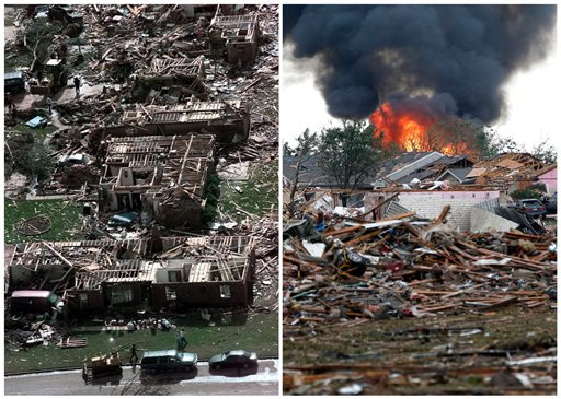 Left, a neighborhood in Moore, Okla., in ruins on Tuesday, May 4, 1999, after a tornado flattened many houses and buildings in central Oklahoma, and right, flattened houses in Moore on Monday, May 20, 2013. Monday's powerful tornado in suburban Oklahoma City loosely followed the path of a killer twister that slammed the region in May 1999. (AP Photo)