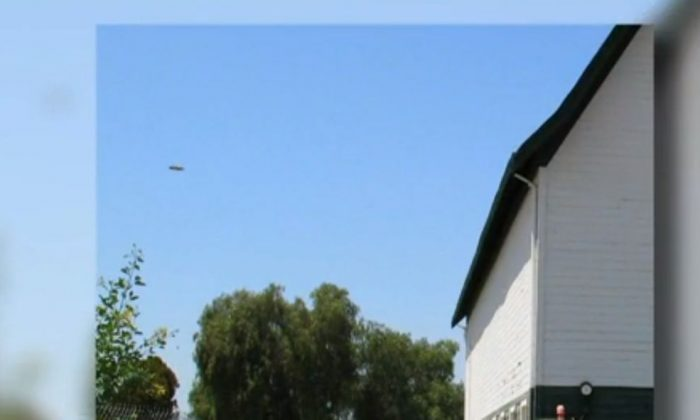 A screenshot of ABC News shots photo of the UFO in Santee. Calif.
