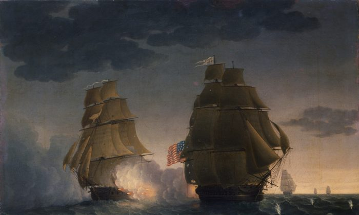 """""""Escape of H.M.S. Belvidera from the U.S. Frigate President"""" by Thomas Buttersworth, ca. 1815, oil on canvas. (Courtesy of New-York Historical Society)"""