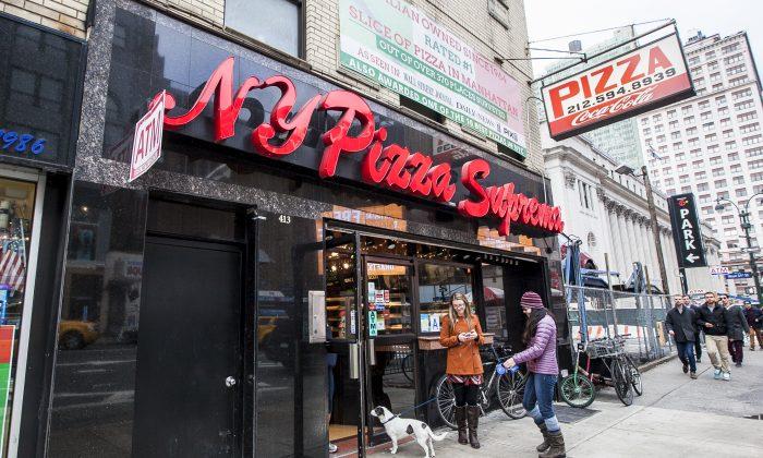 The NY Pizza Suprema in  New York on Dec. 31, 2015. (Samira Bouaou/Epoch Times)