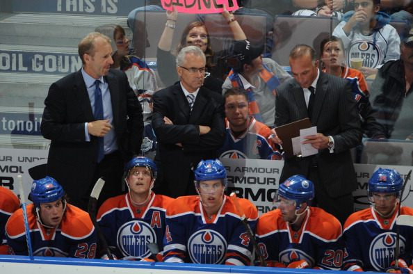 Tom Renney, Ralph Krueger, Kelly Buchberger of the Edmonton Oilers skates against the Pittsburgh Penguins on October 9, 2011 at Rexall Place in Edmonton, Alberta, Canada. (Dale MacMillan/Getty Images)
