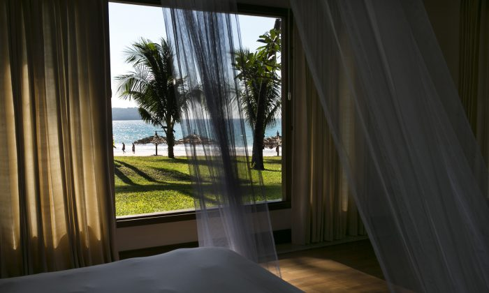 A view of the beach from a beachfront deluxe bungalow at Ngapali Bay resort in Burma, aka Myanmar, on Nov. 28, 2012.  (Paula Bronstein/Getty Images)