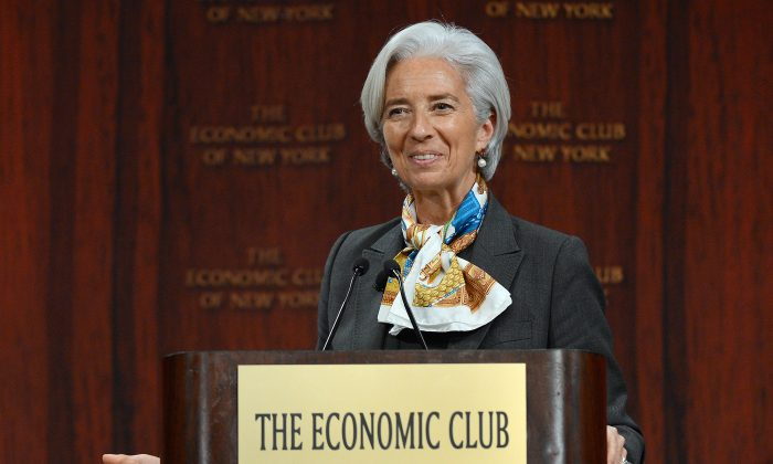 IMF Managing Director Christine Lagarde speaks on 'Global Policy Actions to get Ahead of the Curve' in front of the Economic Club of New York, in New York, April 10, 2013. In the speech, Lagarde reiterated the IMF's stance that global fiscal deficits should be reduced over the long term, without doing harm to the economy.(Emmanuel Dunand/AFP/Getty Images)
