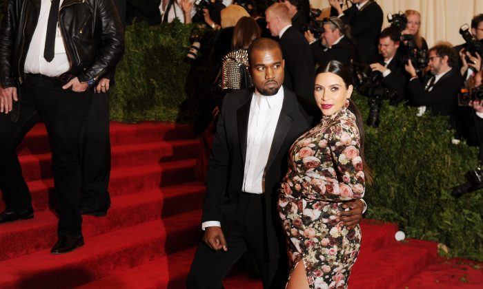 Kanye West and Kim Kardashian attend the Costume Institute Gala for the 'PUNK: Chaos to Couture' exhibition at the Metropolitan Museum of Art on May 6, 2013 in New York City. (Dimitrios Kambouris/Getty Images)