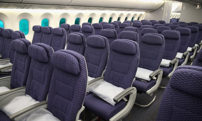 The cabin of a United Airlines Boeing 787 Dreamliner is shown after arriving at O'Hare International Airport. (Scott Olson/Getty Images)