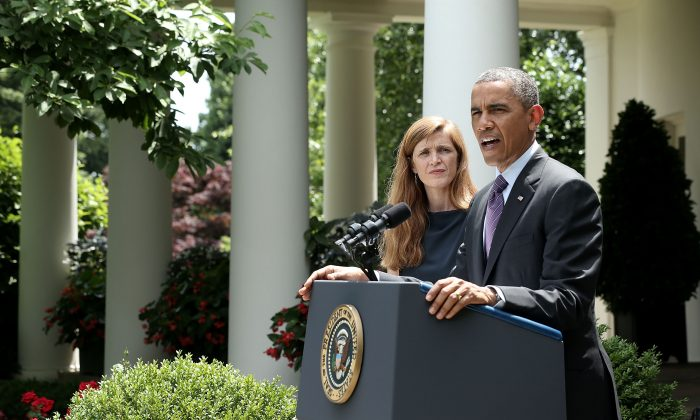 """U.S. President Barack Obama (R) speaks as former aide Samantha Power listens during a personnel announcement at the Rose Garden of the White House June 5, 2013, in Washington, D.C. The Obama administration announced legislation and executive orders on June 5 targeting the growing industry of """"patent trolls,"""" yet for the technology sector in New York City, this may still not be enough. (Photo by Alex Wong/Getty Images)"""