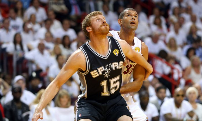 Matt Bonner #15 of the San Antonio Spurs boxes out Shane Battier #31 of the Miami Heat in the second quarter during Game One of the 2013 NBA Finals at AmericanAirlines Arena on June 6, 2013 in Miami, Florida. (Mike Ehrmann/Getty Images)