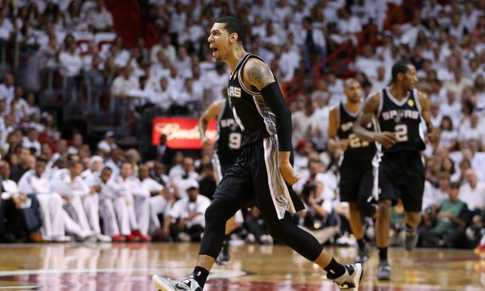 Danny Green #4 of the San Antonio Spurs reacts after making a three-pointer in the first quarter agianst the Miami Heat during Game Two of the 2013 NBA Finals on June 9, 2013 in Miami, Florida. (Christian Petersen/Getty Images)