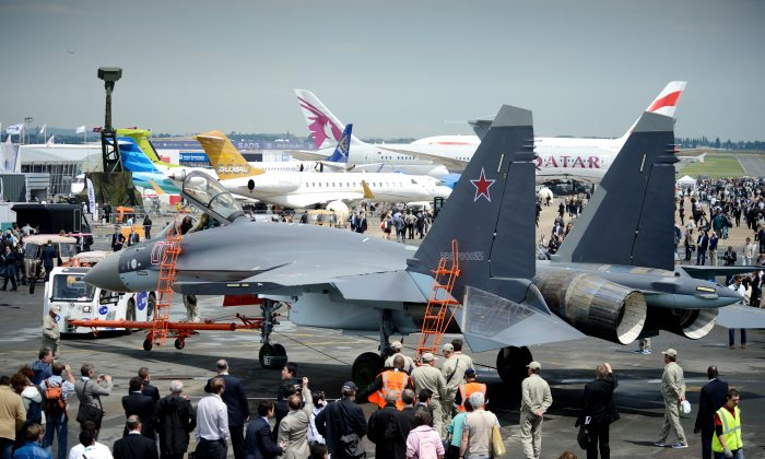 A Sukhoi 35 fighter jet is on display on Le Bourget airport on June 17, 2013 on the opening day of the International Paris Air show. (ERIC FEFERBERG/AFP/Getty Images)