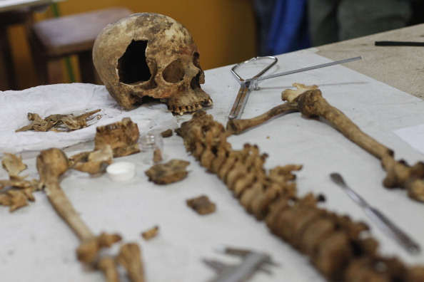 A skeleton belonging to a woman from the Wari empire discovered at El Castillo de Huarmey site, 185 miles north from Lima is shown on June 27, 2013 in Lima. (ERNESTO BENAVIDES/AFP/Getty Images)
