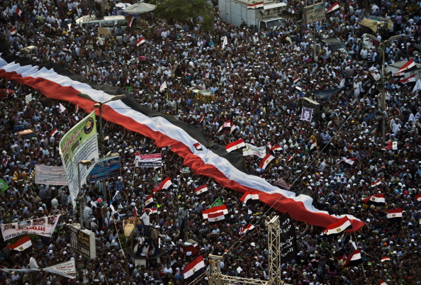 Supporters of Egyptian president Mohamed Morsi and the Muslim Brotherhood gather during a demonstration next to the Rabaa El-Adaweya mosque in the capital Cairo, on June 28, 2013. (KHALED DESOUKI/AFP/Getty Images)