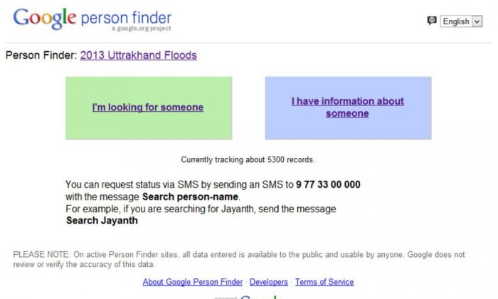 A screenshot of the Person Finder application launched by Google to offer information aboutpeople missing in the Uttrakhand Himalayan floods. (Epoch Times)