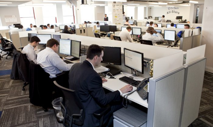 Employees of On Deck, a tech company in New York on March 28. (Samira Bouaou/Epoch Times)