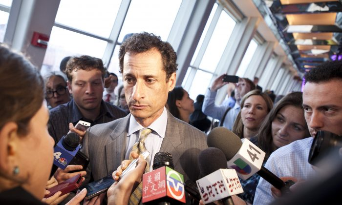 Former Congressman Anthony Weiner speaking to media at a forum hosted by New Yorkers for Great Public Schools at New York University's Kimmel Center in Manhattan on May 28. (Samira Bouaou/The Epoch Times)