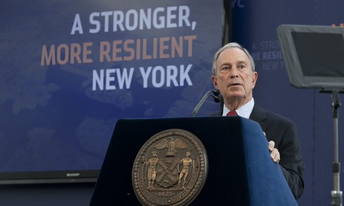 Mayor Michael Bloomberg discusses his plans for protecting New York City from future storms at the Brooklyn Navy Yards on June 11, 2013. (Samira Bouaou/The Epoch Times)