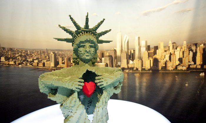 Monumental, an interpretation of the Statue of Liberty in LEGO® by New York-based artist Nathan Sawaya at Discovery Times Square in New York, June 14, 2013.