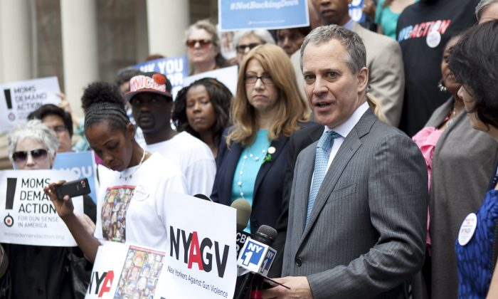 New York State Attorney General Eric T. Schneiderman at City Hall on June 14. (Samira Bouaou/The Epoch Times)