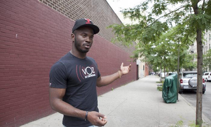 Nicholas Peart, 24, in Harlem, on June 26. Peart has helped to bring attention to racial profiling concerns related to the controversial NYPD police practice of stop and frisk. (Samira Bouaou/Epoch Times)