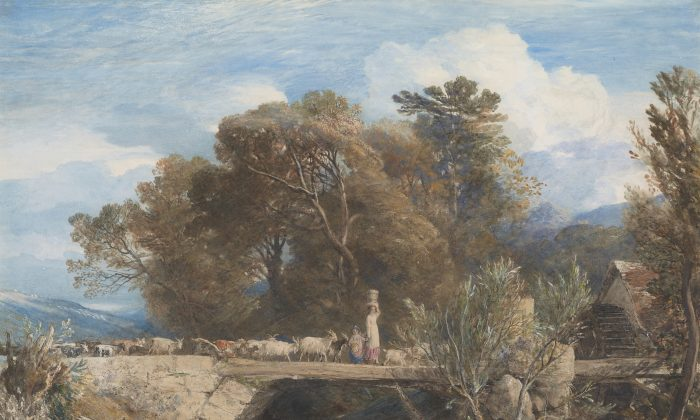 """Samuel Palmer (British, 1805–1881) """"Crossing the Bridge,"""" 1847. Watercolor, gouache, and graphite. Purchased on the Sunny Crawford von Bülow Fund 1978, 2011. (Graham S. Haber/The Morgan Library & Museum)"""