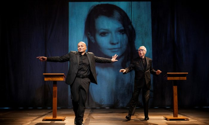 """(L–R) Actor B (Omar Sangare) and Actor A (playwright John Guare) tell the story of Polish émigré Elzbieta Czyzewska in """"Three Kinds of Exile."""" (Kevin Thomas Garcia)"""
