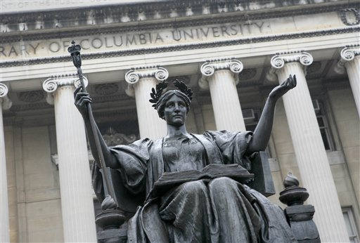 This Oct. 10, 2007 file photo, shows the statue of Alma Mater on the campus of Columbia University in New York.Columbia University ranked first among private not-for-profit four-year or above schools, according to the DOE's report.  (AP Photo/Diane Bondareff, File)