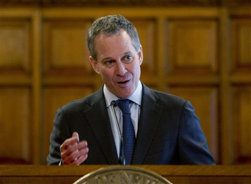 New York Attorney General Eric Schneiderman speaks at the Court of Appeals on Wednesday, May 1, 2013, in Albany, N.Y. On Tuesday he announced the conviction of affordable housing developer Applied Construction Inc. (AP Photo/Mike Groll)