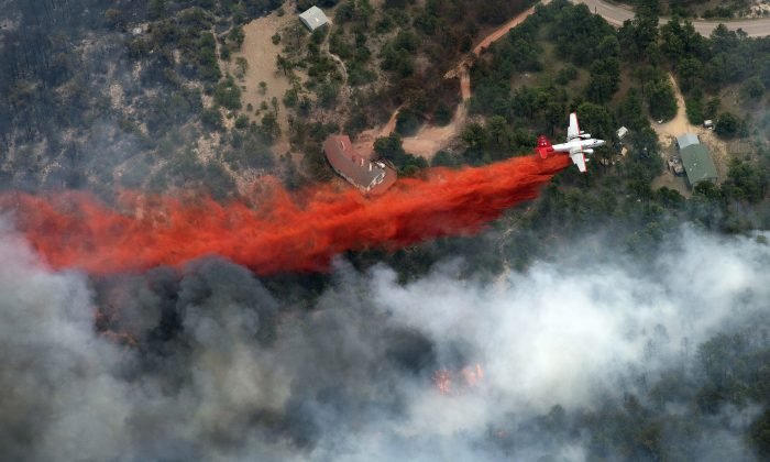 An aircraft lays down a line of fire retardant between a wildfire and homes in the dry, densely wooded Black Forest area northeast of Colorado Springs, Colo., Thursday, June 13, 2013. The fire is being called the most destructive in Colorado history. (AP Photo/John Wark)