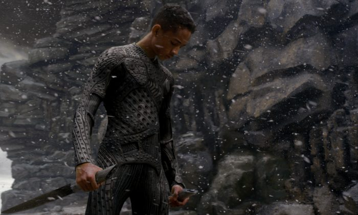 "Kitai Raige (played by Jaden Smith) is a soldier cadet who fights hostile aliens in the science fiction film ""After Earth."" (Courtesy of Columbia Pictures)"