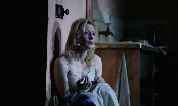 "In this theater publicity image released by the BAM Press Office, Cate Blanchett stars as Blanche in a scene from the Sydney Theatre Company's revival of Tennessee Williams' ""A Streetcar Named Desire,"" playing at the Brooklyn Academy of Music's Harvey Theater through Dec. 20, 2009, in New York. (Lisa Tomasetti/AP Photo/BAM)"