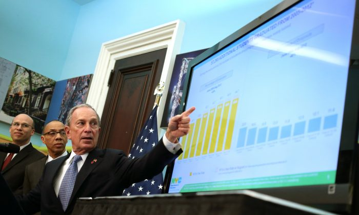 Mayor Michael Bloomberg gives a presentation on graduation rates for the class of 2012, while Schools Chancellor Dennis Walcott looks on, at Tweed Courthouse in Manhattan on June 17, 2013. (Edward Reed)