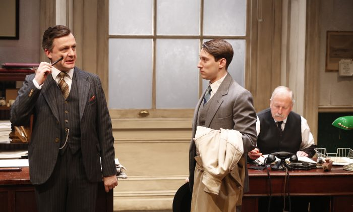 "(L–R): Alan Cox, David Ellis, and Col Farrell in J.B. Priestley's ""Cornelius,"" represent a worker at three stages of life. (Carol Rosegg)"