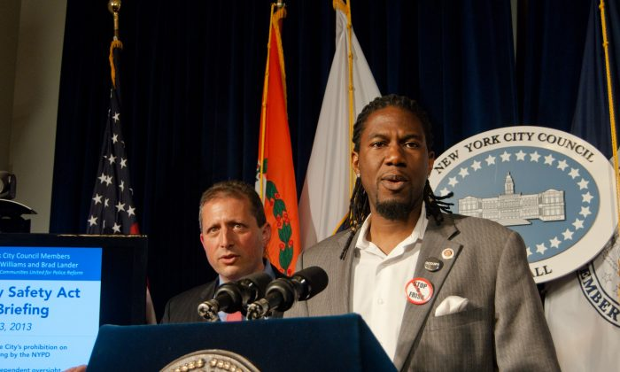 Council members Jumaane Williams (D-Brooklyn) and Brad Lander (D-Brooklyn) introduce updated legislation to create oversight and reduce racial profiling around stop and frisk, during a June 11 press conference at City Hall in Manhattan. (Joshua Philipp/The Epoch Times)