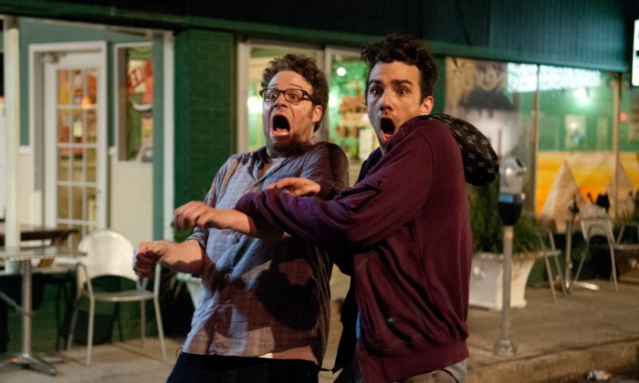 "Seth Rogen, left, and Jay Baruchel in ""The End of the World."" (Sony Pictures)"