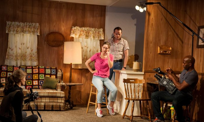 (L–R) Associate Producer Tara (Jessica Cummings) amid production of a reality television show about drug addicts. The siblings of one episode's star are Brittany (Zoe Perry) and Mackson (Luke Robertson), with Ethan (Andrew Stewart-Jones) currently as cameraman. (Kevin Thomas Garcia)