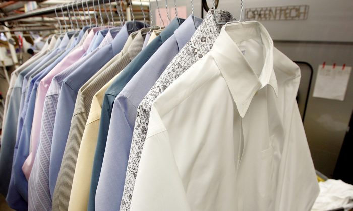 Freshly pressed shirts are seen at Sohn's French Cleaners, which uses eco-friendly chemicals to dry clean clothes, on Jan. 29, 2007, in San Francisco, Calif., when California announced that it had enacted the nation's first statewide ban on the chemical perchloroethylene, also known as PERC, a toxic solvent commonly used by dry cleaners. By 2023, dry cleaning machinery using PERC will be banned from use in the state of California. (Justin Sullivan/Getty Image)