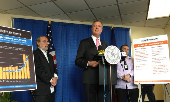 Bill de Blasio, New York City public advocate, speaks at a press conference in his office at 1 Centre Street in Lower Manhattan on June 25, 2013. De Blasio called for the resignation of Jonathan Mintz, the commissioner of the Department of Consumer Affairs. De Blasio's call is based solely on news reports. (Ivan Pentchoukov/Epoch Times)