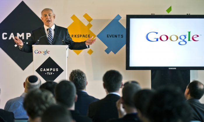 Israeli Prime Minister Benjamin Netanyahu gives a press conference for the launch of Campus TLV, a technology hub for Israeli start-ups, entrepreneurs, and developers at Google's new offices on December 10, 2012, in Tel Aviv. (Jack Guez/AFP/Getty Images)