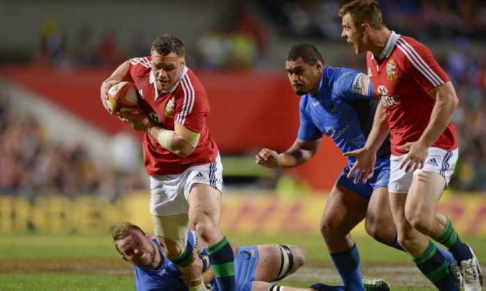 Cian Healy from the British and Irish Lions rugby team breaks clear against the Western Force during their tour match in Perth on June 5. (GREG WOOD/AFP/Getty Images)