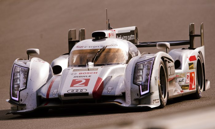 Loic Duval steers his Audi during the 90th edition of the Le Mans 24 hour endurance race on June 22, 2013, in Le Mans, France. (Alain Jocard/AFP/Getty Images)