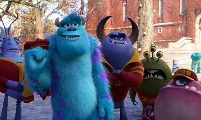 "James P. Sullivan (second from left, voiced by John Goodman) must team up with others to achieve his potential in the animated comedy-adventure ""Monster University."" (Courtesy of Pixar)"